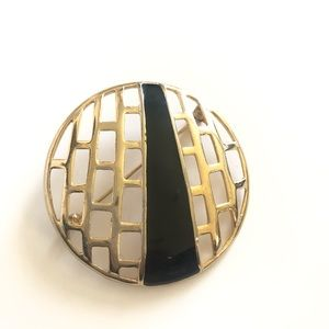 M.J. ENT  Gold And Black Enameled Circle Brooch